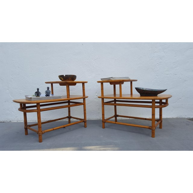 Heywood - Wakefield Two Tier Side Tables a Pair For Sale - Image 12 of 13