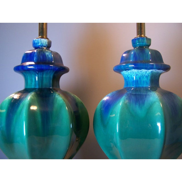Mid-Century Green Drip Glaze Lamps - A Pair - Image 4 of 5