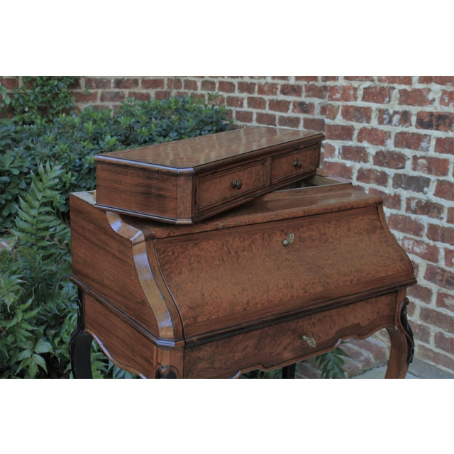 Antique French Birds Eye Maple Fall Front Secretary Desk Bureau For Sale - Image 4 of 13