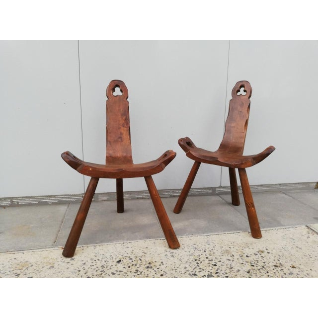 1950s Vintage Tripod Antique Brutalist Chairs- a Pair For Sale In Los Angeles - Image 6 of 9