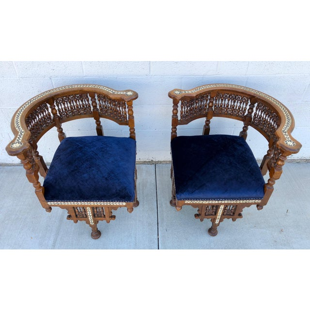1950s 1950s Vintage Moroccan Mother of Pearl Velvet Corner Chairs - A Pair For Sale - Image 5 of 12