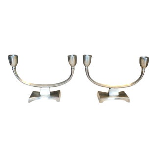 Art Deco Pewter 2-Arm Candle Holders by Just Andersen, Denmark - A Pair For Sale