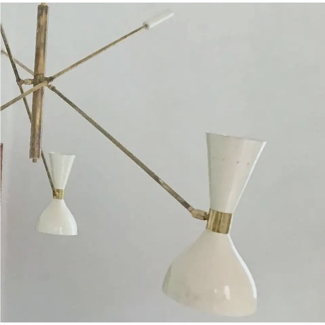 Modern 'Triennale' Style Adjustable Three-Arm Chandelier For Sale - Image 3 of 8