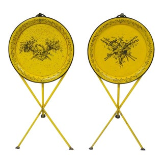 Pair of Vintage Italian Neoclassical Tole Metal Folding Side Tables Yellow Harvest For Sale