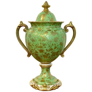 Coalport Covered Gilt Decorated Covered Urn For Sale