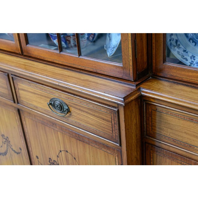 Early American Adams Style Satinwood Bookcase For Sale - Image 3 of 8