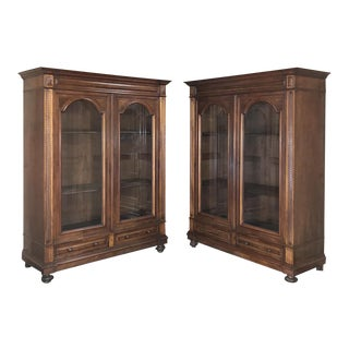 Pair Antique French Louis XVI Walnut Bookcases For Sale