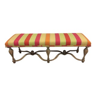 Striped Upholstered Bench - Spanish Influence Frame With X Stretchers For Sale