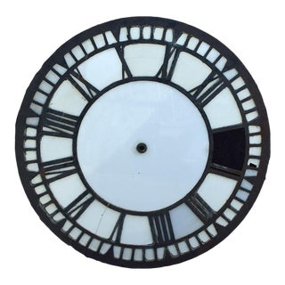 Early 20th Century Cast Iron and Milk Glass English Church Clock Face For Sale