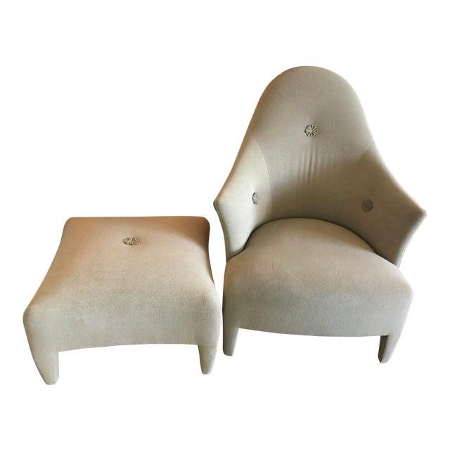 1990s Vintage John Hutton for Donghia Phantom Chair & Ottoman For Sale