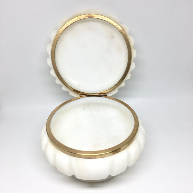Gold Alabaster and Brass Shell Lidded Box For Sale - Image 8 of 12