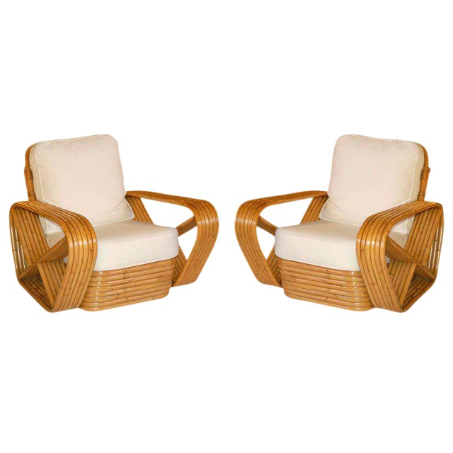 Pair of Restored Paul Frankl Inspired Square Pretzel Rattan Armchairs For Sale