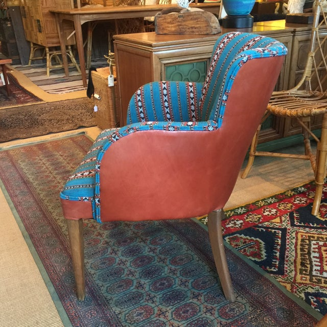 Newly Upholstered Vintage Chair in Leather - Image 3 of 5