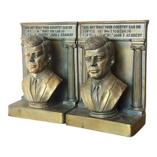 Jfk Brass Bookends - a Pair For Sale