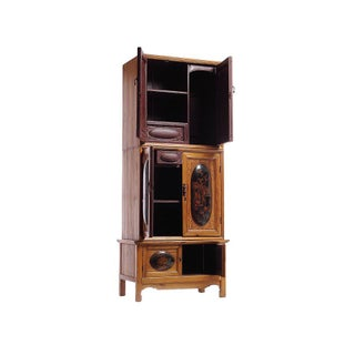 Tall Quing Dynasty Wood Cabinet With Chinoiserie Panels From China, 19th Century Preview