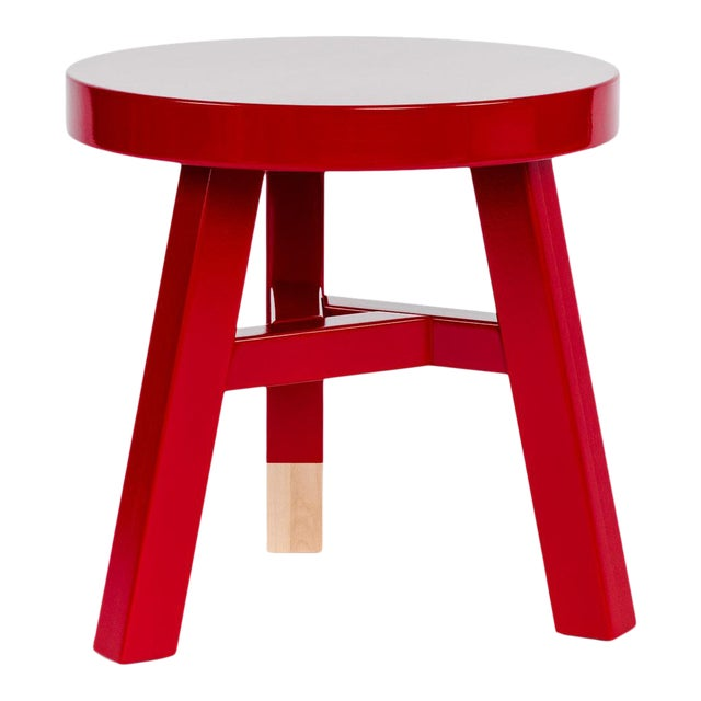 Mooooi Red Lacquered Solid Birch Merchant Side Table For Sale
