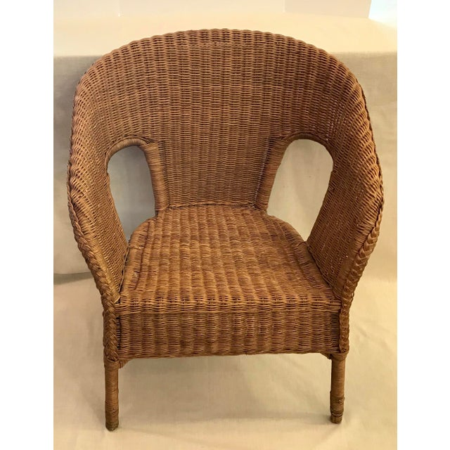 Late 20th Century Late 20th Century Vintage Barrel Back Natural Wicker Chair For Sale - Image 5 of 13