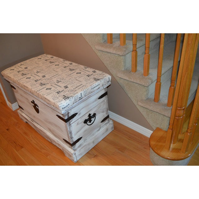 Shabby Chic Style Paris Bench/Trunk - Image 3 of 3