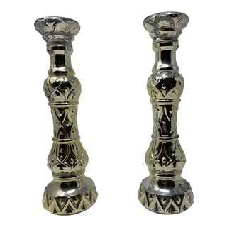 1960s Mercury Glass Candlesticks - a Pair For Sale