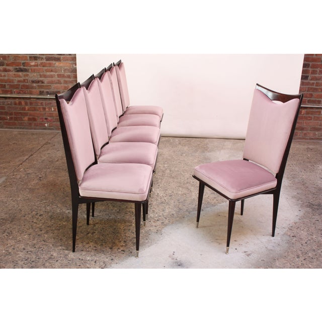 Set of Six Mid-Century Italian Dining Chairs With Nickel Sabots For Sale - Image 4 of 13