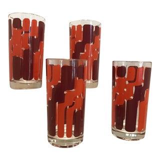 1960s Mid-Century Modern Orange and Pink Mod Highball Glasses - Set of 4