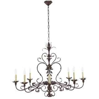 Italian Eight-Arm Iron Chandelier For Sale
