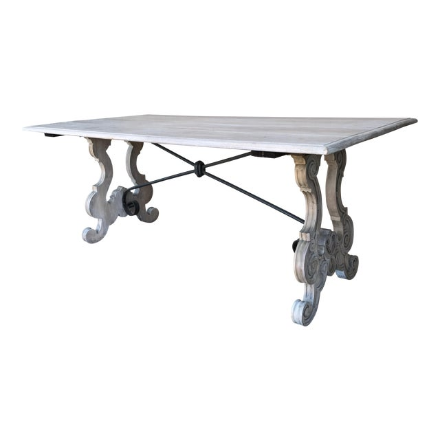 Spanish Cerused Trestle Table For Sale