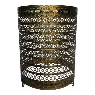Gold Filigree Hollywood Regency Wastebasket For Sale