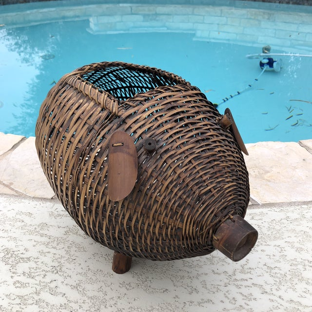 Mid Century Bamboo and Wicker Pig Basket For Sale - Image 9 of 13