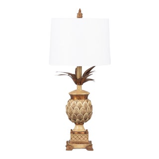 French Mid-Century Pineapple Lamp in the Style of Maison Jansen With Shade For Sale