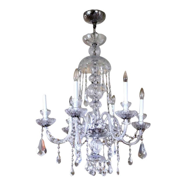 Salvaged Waldorf Six Glass Arms Crystal Chandelier For Sale