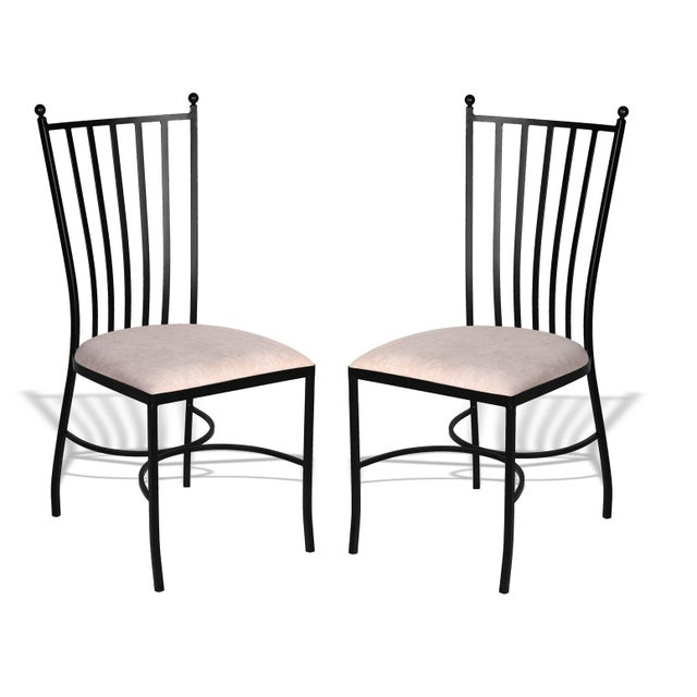 Pair of Two Garden Chairs in Brown Wrought Iron For Sale - Image 4 of 4