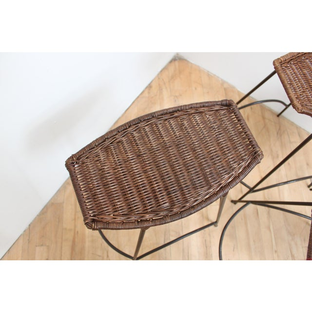 Set of 4 Raymor Arthur Umanoff Wicker and Iron Counter Stools For Sale In San Francisco - Image 6 of 8