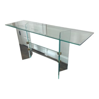 Pace Collection Style Modern Brass and Glass Console Table For Sale