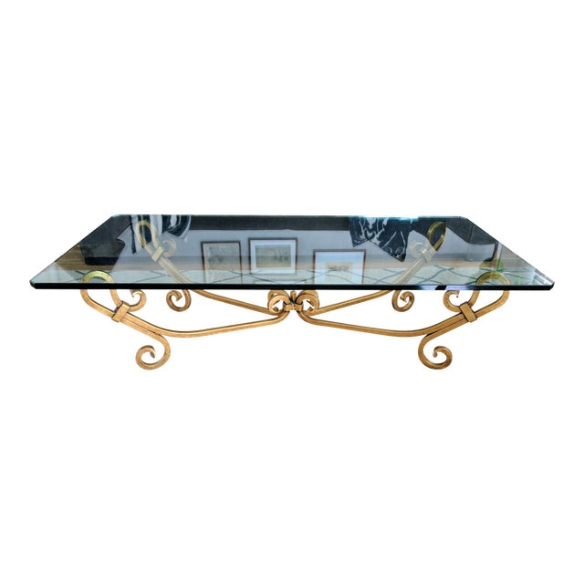Vintage Wrought Iron Gold Beveled Glass Top Coffee Table For Sale