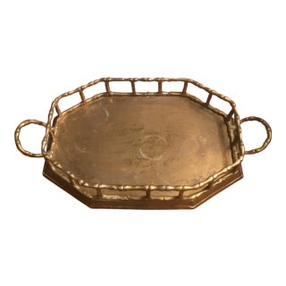 Brass Faux Bamboo Gallery Tray