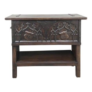 Antique French Gothic Low Buffet - Console - Sofa Table For Sale