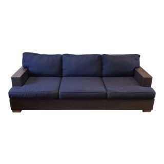 Restoration Hardware All Weather Wicker Three Seat Sofa For Sale