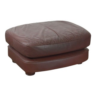 Classic Leather Bun Foot Russet Brown Leather Ottoman For Sale