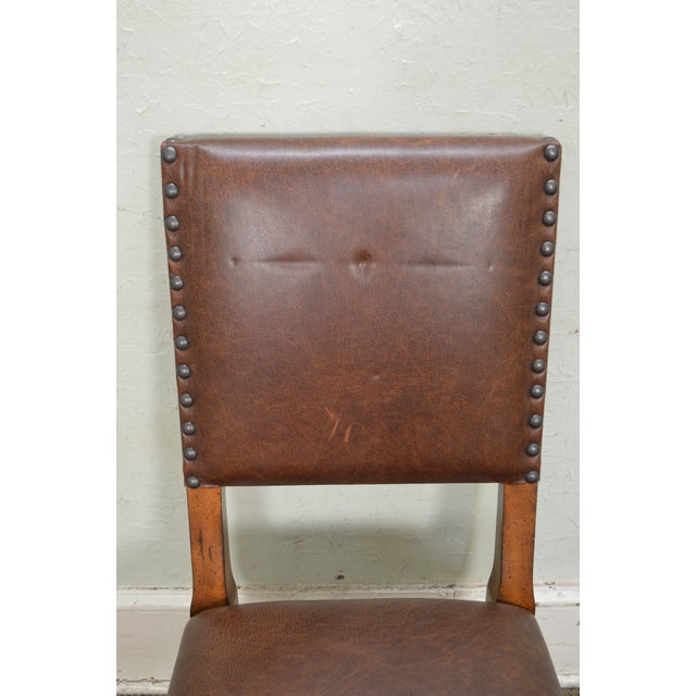Animal Skin Stanley Barley Twist Brown Leather Dining Chairs - Set of 6 For Sale - Image 7 of 13