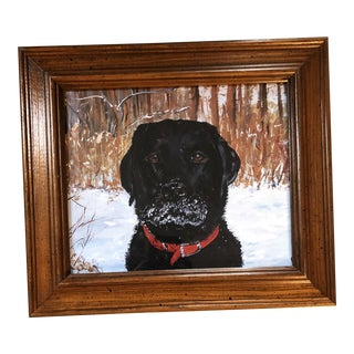 Black Lab in Snow Dog Print by Contemporary Artist Judy Henn For Sale
