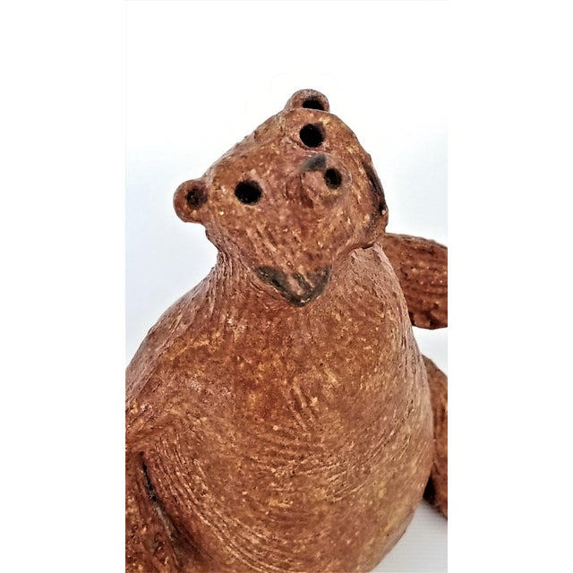 Vintage 1970s Danish Modern Studio Art Pottery Bear Sculpture- Signed-Mid Century Organic Modern MCM Palm Beach Boho Chic Earthenware For Sale - Image 4 of 13