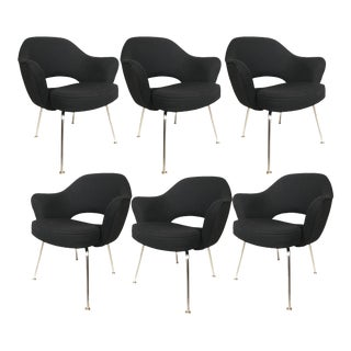 Eero Saarinen for Knoll Executive Armchairs in Solid Black - Set of 6