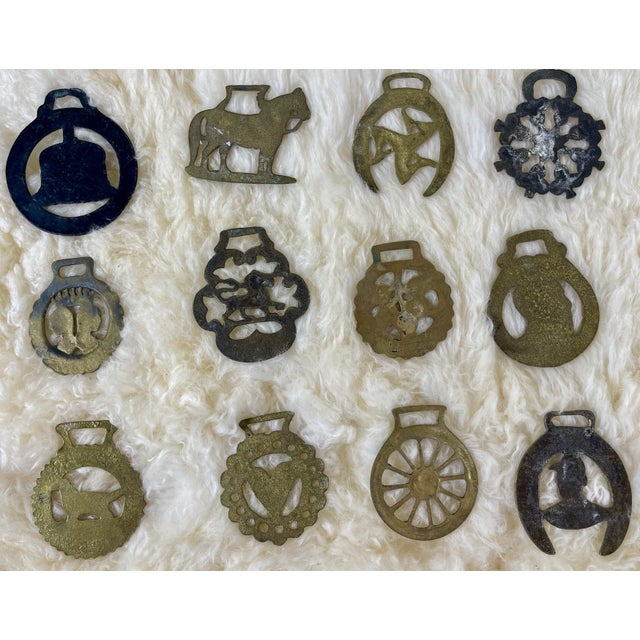 Metal Antique Horse Brass Christmas Ornaments - Set of 12 For Sale - Image 7 of 8