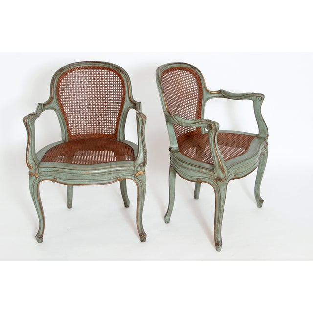 Set of 4 Italian Caned Polychrome Fauteuils - Image 8 of 11