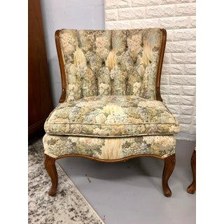 Early 20th Century Vintage Tufted Slipper Chairs- A Pair Preview