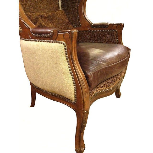 Traditional Leopard & Leather Canopy Porters Chair For Sale - Image 3 of 9