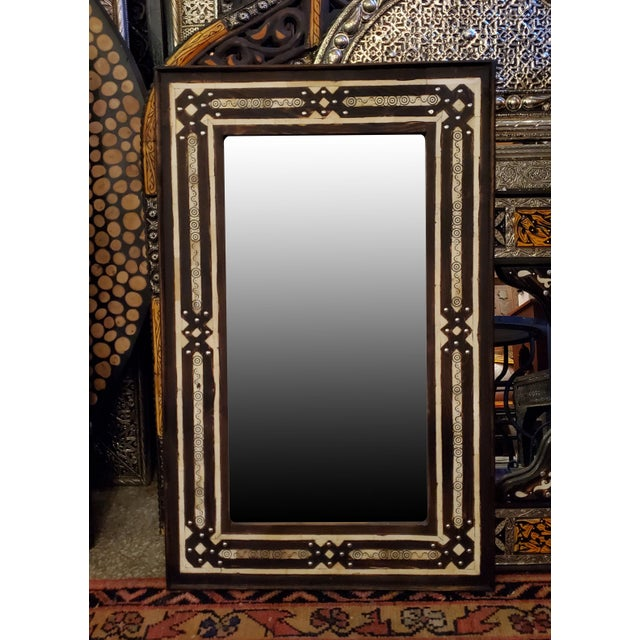 Medium Size Moroccan Rectangular Resin Inlay Mirror For Sale In Orlando - Image 6 of 7