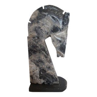 Charcoal Marble Horsehead Bookend