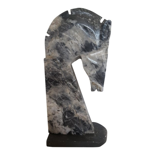 Charcoal Marble Horsehead Bookend - Image 1 of 4